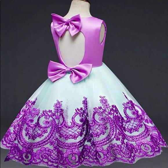 ebbe4bd2d0de8 💜New Purple Green Lace Satin Bow Tutu Tulle Dress NWT